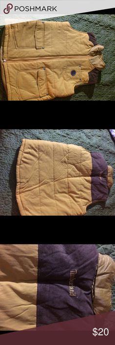 Timberland tan puff vest -youth size large 16-18 Gorgeous Authentic Timberland Sleeveless vest with padding in a tan color with suede on top back in a youth size large 16-18. Timberland Jackets & Coats Vests