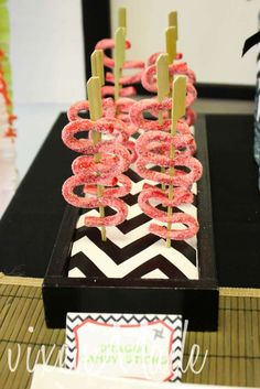 Cool dragon candy sticks at a ninja birthday party! See more party planning ideas at CatchMyParty.com!