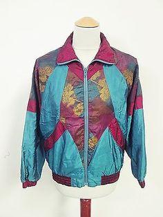 Vintage USA Hipster Crazy Pattern Shellsuit Tracksuit Top Jacket Small