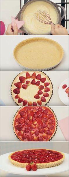 Receita de Torta Espelhada de Morango | Tão linda quanto gostosa! #torta #tortaespelhadademorango #comida #culinaria #gastromina #receita #receitas #receitafacil #chef #receitasfaceis #receitasrapidas