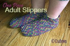 Free crochet pattern for adult, one piece slippers at Craftown. We   have 100's of crochet, and other needlework patterns available.