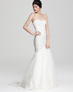 Sequin gown with organza skirt. $1,295, Theia