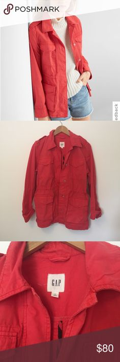 Gap • Spring Coral Utility Jacket product details:  Smooth canvas weave. Long sleeves with snap cuffs. Point collar. Hidden snap front. Interior drawcord at waist. Flap patch pockets at chest, snap-flap patch pockets at lower front. Runs larger - fits more like a S or M  fabric & care 100% Cotton. NWT GAP Jackets & Coats Utility Jackets