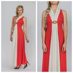 Vintage 70s evening dress DISCO red and white MAXI by Raxclothing