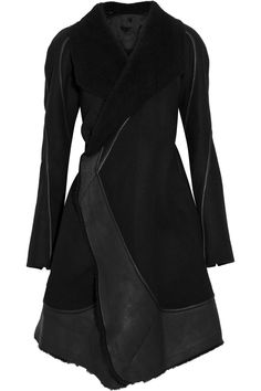 Rick OwensStag shearling and leather-trimmed wool coat