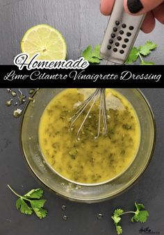 This homemade lime cilantro vinaigrette is made with only a few ingredients and can be used to dress salads, marinade chicken and fish, or to add flavor to rice, noodles and more. Marinade Chicken, Chicken Marinades, Noodles And More, Mexican Food Recipes, Ethnic Recipes, Vinaigrette Dressing, Lean Protein, Seasoning Mixes, Rice Noodles