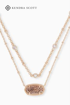 Layering is easier than ever with our Elisa Rose Gold Multi Strand Necklace in Rose Gold Drusy, featuring an iconic KS pendant pre-styled with a thoughtfully designed double chain.