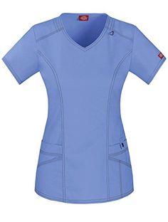 d9ada672ebc Amazon.com: Dickies Women's Genflex (Contrast) V-Neck Top, Black, XX-Small:  Clothing
