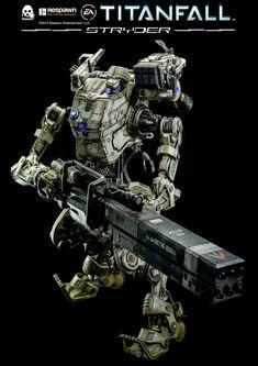 toyhaven: ThreeZero Tall Titanfall Stryder collectible robot with tall IMC Close Quarter Pilot figure Gundam, Character Concept, Concept Art, New Iron Man, Advanced Warfare, Futuristic Motorcycle, Sci Fi Models, Science Fiction, Mechanical Design