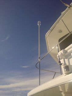 A close-up view of the WhirlyBird Repeller installed by Royal Touch Marine in Charleston, South Carolina, USA, to scare away pest marine birds.