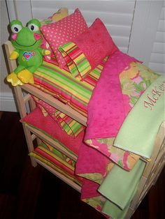 Pretty TRIPLE Doll Bunk Bed Separates with Minky Chenille Green/Hot Pink Personalized Bedding for American Girl, Bitty Baby Waldorf Dolls. $192.50, via Etsy.