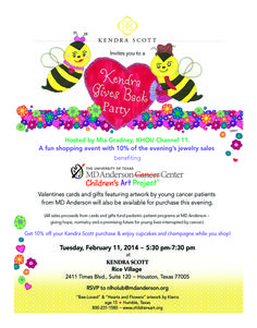 Mark your calendars for this great event next Tuesday. Mia Gradney KHOU will be hosting the event on February 11 from 5:30-7:30 pm in Rice Village. See the attached invite for all the details. #endcancer