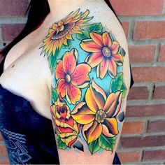 Flower tattoos on arm and on the shoulder are the best places for women.
