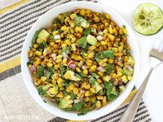 Warm Corn and Avocado Salad makes the perfect light and fresh side for enchiladas, grilled meats, or tacos. Step by step photos.