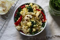 Grilled Fennel + Veggie Millet Salad with Kale Pesto