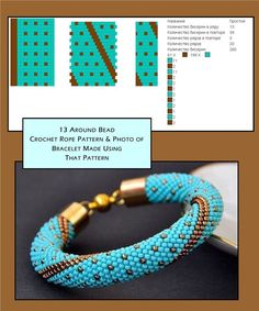 13 around bead crochet rope pattern and a photo showing what a bracelet made usi. # bead crochet patterns 13 around bead crochet rope pattern and a photo showing what a bracelet made usi… - jewelry Crochet Bracelet Pattern, Crochet Beaded Bracelets, Beaded Bracelets Tutorial, Bead Crochet Patterns, Bead Crochet Rope, Beaded Bracelet Patterns, Seed Bead Bracelets, Jewelry Patterns, Beading Patterns