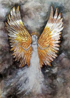 Angel Wings Art, Angel Wings Painting, Angel Artwork, Angel Drawing, Art Texture, Texture Painting, Angel Aesthetic, Angel Pictures, Watercolor Paintings