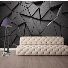 Wall Painting Living Room, 3d Wallpaper Living Room, Living Room Paint, Living Room Bedroom, Living Room Wall Designs, Grey Triangle Wallpaper, Black Design Wallpaper, Triangle Background, Triangle Art