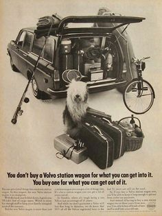 Vintage Volvo Station Waggon Ad - Old English Sheepdog - 1968