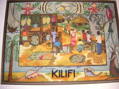 """A canvas work """"tapestry for They made it their home. Kilifi district didnt have one so I made one for Mum."""