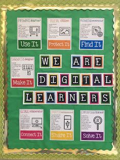 Technology Teaching Resources with Brittany Washburn: Technology Standards Display or Bulletin Board Source by Elementary Computer Lab, Computer Lab Classroom, Classroom Bulletin Boards, Bulletin Board Display, Technology Bulletin Boards, Science Bulletin Boards, Computer Teacher, Biology Classroom, Elementary Library