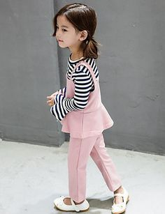 Girl's Casual/Daily Striped Clothing SetRayon Spring / Fall Black / Pink / Gray