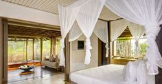 Impressive Villa Design Ideas with Beautiful Scenery View: Subtle The Bedroom Design In Opium Mustique Cove House With Opened Windows Which ...