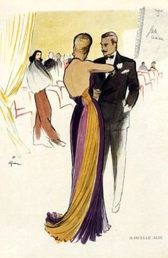 Fashion illustration by Rene Gruau, 1946, Evening gown by Marcelle Alix.