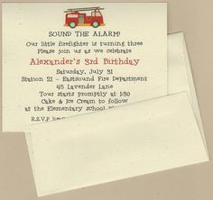$18.00/12 Invitations.  Fire Truck Invitation, professionally printed on 100% recycled card stock