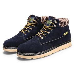 Men Winter Cotton Snow Boots Fur Lining Casual Outdoor Keep Warm Shoes - US$38.99