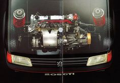 Peugeot 205 engine top view - original Peugeot brochure