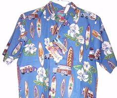 Reyn Spooner Joe Kealoha's Boards and Woods Blue Hawaiian Camp Shirt Men's S #ReynSpooner #ButtonFront