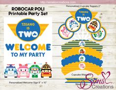 Robocar Poli Party Printables / party welcome sign / cupcake toppers / cupcake wrappers