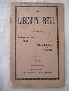 1895 Liberty Bell Booklet Train Itinerary Atlanta Cotton States Exposition