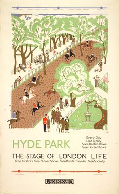 'Hyde Park' (1925) by English painter, illustrator and graphic artist Edward Bawden (1903-1989). He was known for his prints, book covers, posters, and garden metalwork furniture.