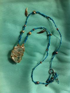 wax macrame chunky quartz crystal necklace