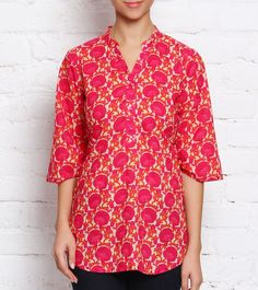 Pink Printed Cotton Top #indianroots #fusionwear #top #cotton #printed #summerwear #casualwear