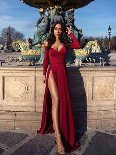 Off shoulder prom dress,red long evening dress,party dress with high split Evening Dresses Long, Prom Dresses Red, Prom Dress Prom Dresses 2019 Prom Dresses Long With Sleeves, Elegant Prom Dresses, Sexy Dresses, Pretty Dresses, Long Dresses, Sleeved Prom Dress, Long Sleeve Formal Dress, Prom Dress Long, Red Long Sleeve Gown