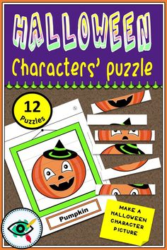 A fun Halloween puzzle game. Students will reveal Halloween characters by assembling the facial parts and make a character's picture. They can also color the picture frame and write the name of the character. Halloween Puzzles, Halloween Activities For Kids, Printable Activities For Kids, Halloween Kids, Puzzle Games For Kids, Fun Activities For Kids, Homeschool Kindergarten, Homeschooling, Second Grade Games