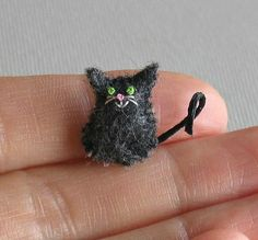 Cat miniature black felt stuffed plush toy by wishwithme on Etsy, $6.00
