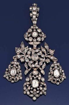 An 18th century rose-cut diamond pendant  Of girandole design, set throughout with foiled rose-cut diamonds, in a later fitted case.