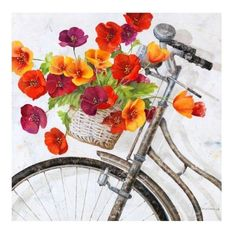 Ballard Designs Fleur de la Mart Giclee (¥24,070) ❤ liked on Polyvore featuring home, home decor, wall art, bike wall art, french home decor, bicycle wall art, french oil painting and flower wall art