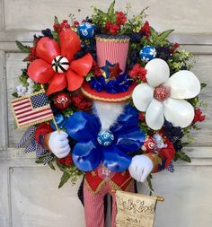 Independence Day Holiday, July 4th Holiday, Patriotic Wreath, 4th Of July Wreath, White And Blue Flowers, Make Ready, Holiday Wreaths, Hotline Bling