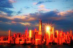 Sunset On Lower Manhattan # 2 by Allen Beatty