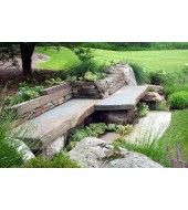 Outdoor Stone, Stone Bench, Outdoor Seating, Red