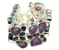 $166.50 Beautiful! Purple Amethyst Sterling Silver Bracelet at www.SilverRushStyle.com #bracelet #handmade #jewelry #silver #amethyst