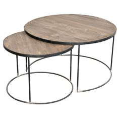French Set Of Two Round Coffee Tables, clever design smaller tble stores neatly below larger tble. Sleek, contemporary design, simple lines and metal legs
