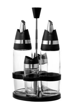 Oil and Vinegar Bottle Cruet Set - Salt and Pepper Shaker with Stand - 5 Piece Cruet Set Kitchen Combo Set by Juvale -- New and awesome product awaits you, Read it now  : Storage and Organization
