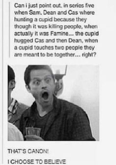 cupid hugged sam as well but i'm gonna forget that bc DESTIEL