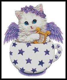 Angel Kitty Cup cross stitch chart from Artecy Cross Stitch Cat Cross Stitches, Cross Stitch Charts, Counted Cross Stitch Patterns, Cross Stitch Embroidery, Cute Little Kittens, Cat Coloring Page, Cat Character, Cross Stitch Animals, Hand Embroidery Patterns